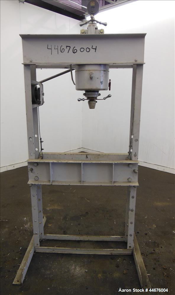 "Used- Dake Hand Operated Hydraulic Press, 50 Tons, Model 50H. Width between uprights 32-3/4"", ram travel 4"", screw travel 7""."