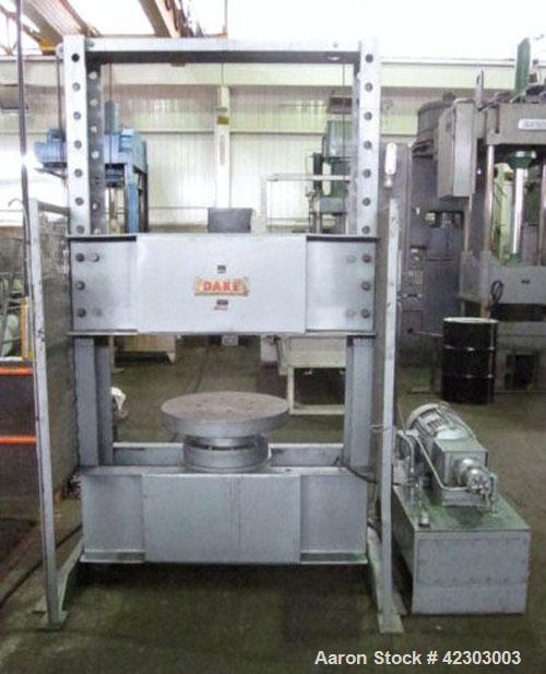Used- Dake Hydraulic H-Frame Tire Press, 150 Ton, Model 33-179. Upacting type, floor standing. Distance between side frames ...