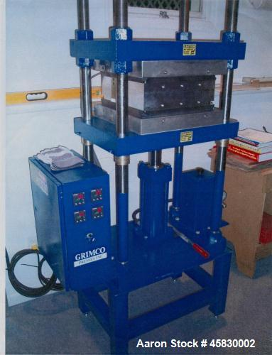Used- Grimco 30 Ton Hydraulic Press, Model 30-2-HT. Vertical, up-acting cylinder. Heated platens, two-stage manual pressure ...