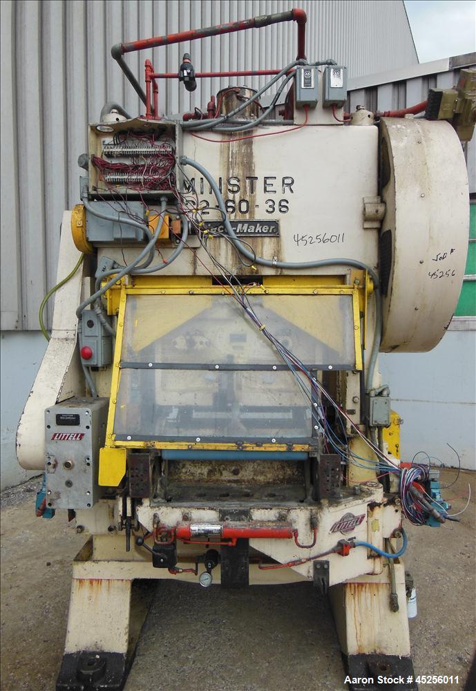 "Used  Minster 60 Ton Straight Side Press, Model # P2-60. 60 ton capacity, Press bed area 36"" X 25"", Stroke of slide 2"", Adju..."