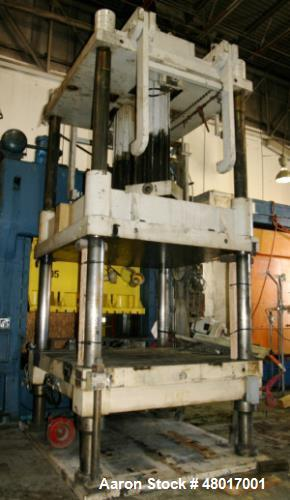 "Used- 300 Ton Premier Mold 4-Post Hydraulic Press. Max stroke 61"". Max daylight to bed 100"". Overall bed and ran area 100"". ..."
