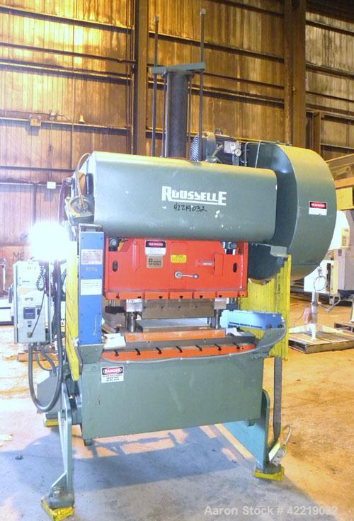 """Used- Rousselle Gap Frame Double Crank O.B.I. Press, 40 tons, model 4B-48. Stroke 3"""", slide adjustment 3"""", shut height 11-3/..."""