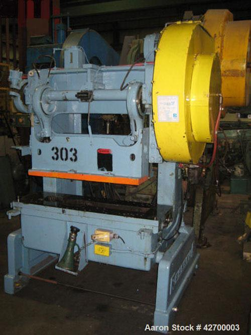 "Used-40 Ton Rouselle Double Crank OBI Press, Model 4B. Air clutch and brake, flywheel type, 2"" stroke, 3"" slide adjustment. ..."
