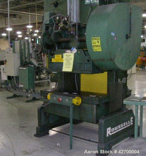 "Used-40 Ton Rouselle Double Crank OBI Press, Model 4B. Air clutch and brake, air counterbalance, flywheel type, 3"" stroke, 3..."