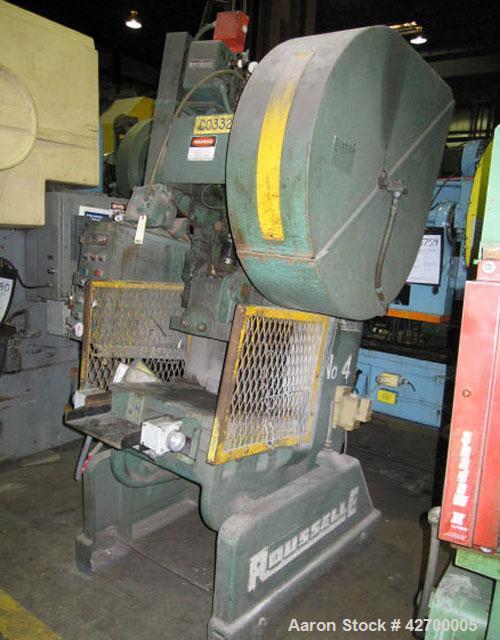 "Used-40 Ton Rouselle OBI Press, Model 4B. Air clutch and brake, flywheel type, 4"" stroke, 3.5"" slide adjustment, shut height..."