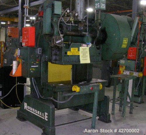 Used- 40 Ton Rousselle Gap Frame Double Crank O.B.I. Press. Model no. 4B. Air clutch & brake. Air counterbalance. Flywheel t...