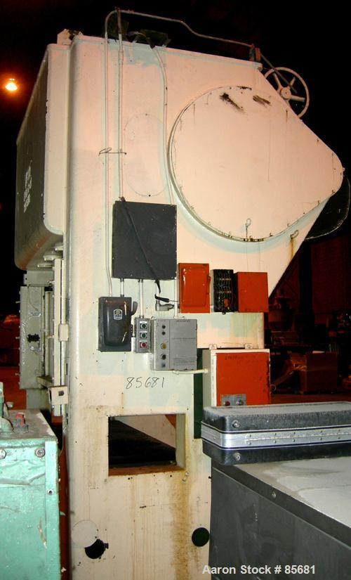 """USED: Verson 100 ton straight side press, model 100-S2-84. Mechanically operated. 5"""" Adjustment. 18"""" Shut height. Platen 84""""..."""