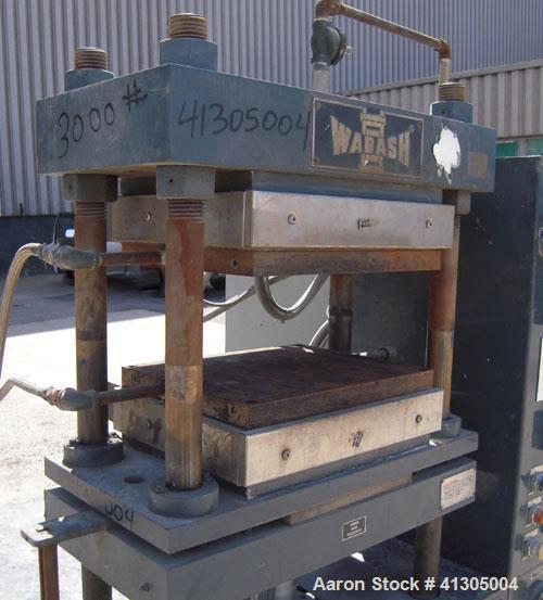 Used- Wabash 50 Ton Upstroke Hydraulic Compression Press, model 50-1512-2T2WSM. (2) Electrically heated, water cooled platen...