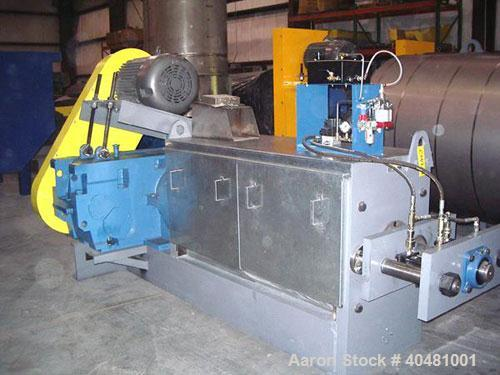 "Used-ANCO 202-4 Mechanical Screw Press, carbon steel. 11' OAL x 40"" wide, 9"" feed quill, 8"" barrel, belt driven by a 60 hp m..."