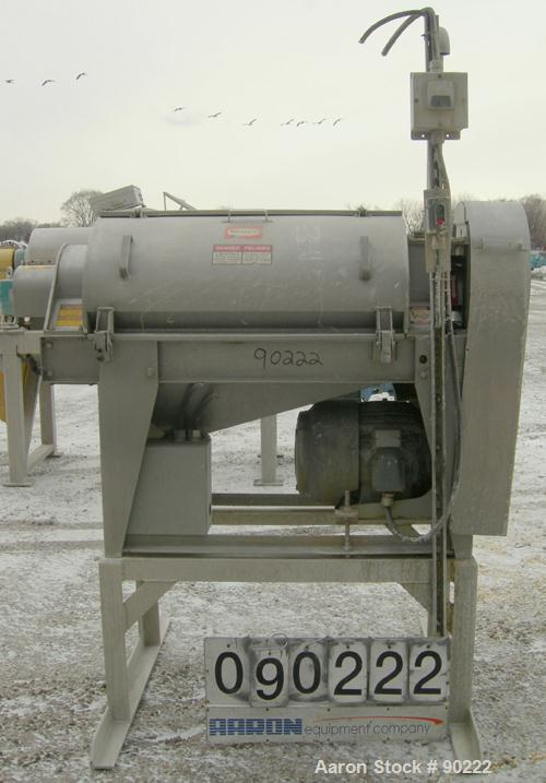 "USED: Brown International pulper finisher dewatering separator, model 202, 304 stainless steel. Approximate 16"" diameter x 3..."