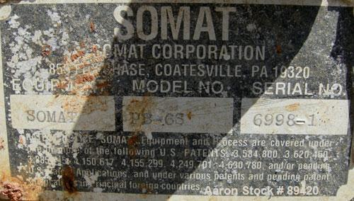 "USED: Somat inclined Som-A-Press screw press,304 stainless steel.  Approximate 6"" diameter x 32"" long screw. Driven by a 3 h..."