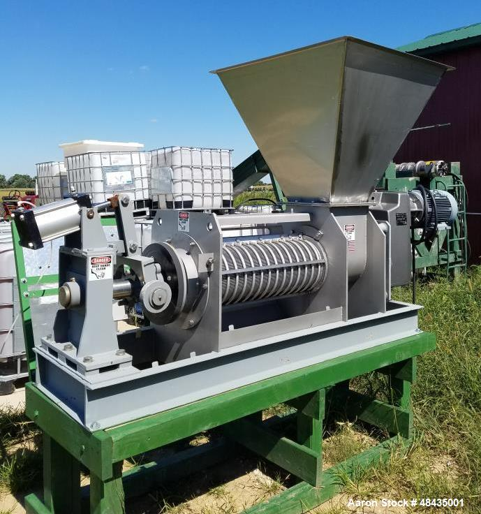 """Used- Vincent Screw Press, Model KP-10. 10"""" diameter. Continuous Horizontal. Stainless steel. 10 HP motor. Stainless steel s..."""
