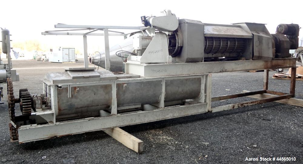 "Used- Vincent Horizontal Screw Press, Model VP16K2, 304 Stainless Steel. Approximate 16"" diameter x 8"" long screw, approxima..."