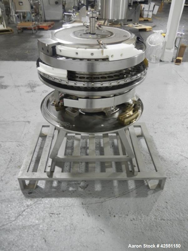 Used- Fette 3090 turret, 49 station, designed for 25 mm max tablet diameter, 22 mm max depth of fill, keyed upper punch guid...