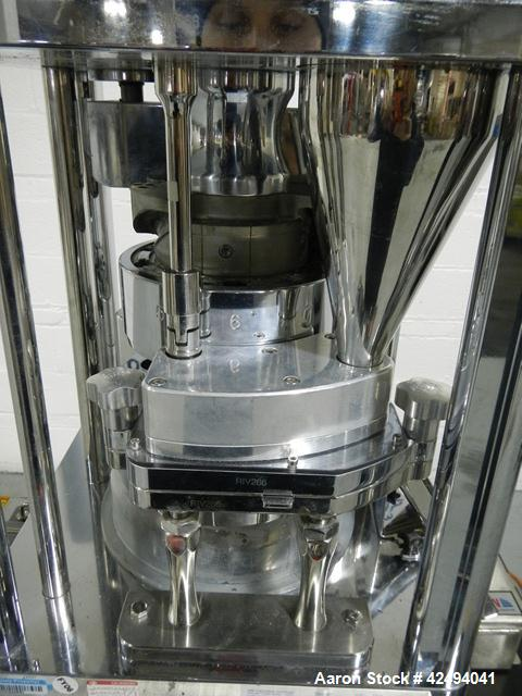 Used- Riva Piccola B-C rotary tablet press, 10 station, 50 Kn compression pressure, keyed upper punch guides, 16 mm max tabl...