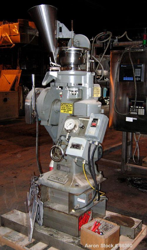 "USED: Colton Rotary Tablet Press, model 216, 4 ton max pressure. 16 station max. (1) Stamping station. 3/4"" max depth fill, ..."