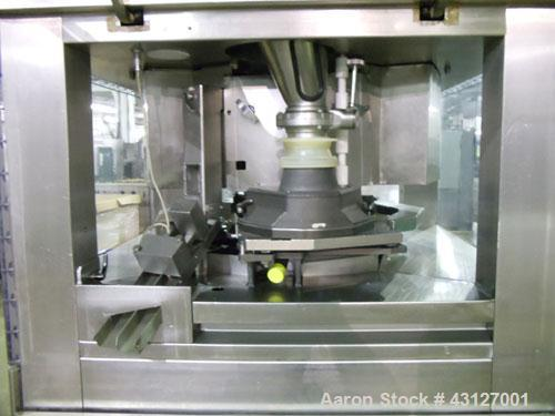 Used- Fette Rotary Tablet Press, Model 3090. 61 Station, keyed upper punch guides, 100 KN main compression, 100 KN pre compr...