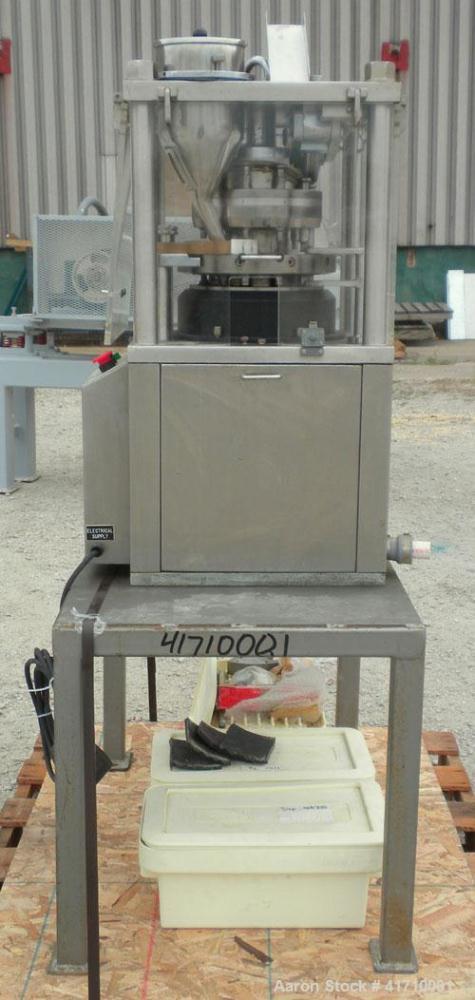 Used- GlobePharma Tabletop Lab Size Rotary Tablet Press, Model Mini Press-I. 10 station, 3 ton maximum compression pressure....