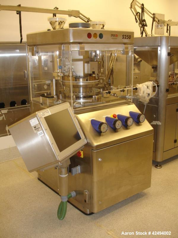 Used- IMA Kilian Mid Size Force Feed Tablet Press, Model S250ZS. 32 Station, 8 ton main compaction force, 3.5 ton first laye...
