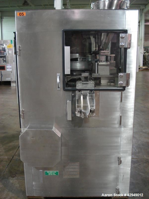 Used-Kikusui rotary tablet press, type M-Libra 836, 36 station, keyed uppper punch guides, 80 KN compression pressure, 16mm ...