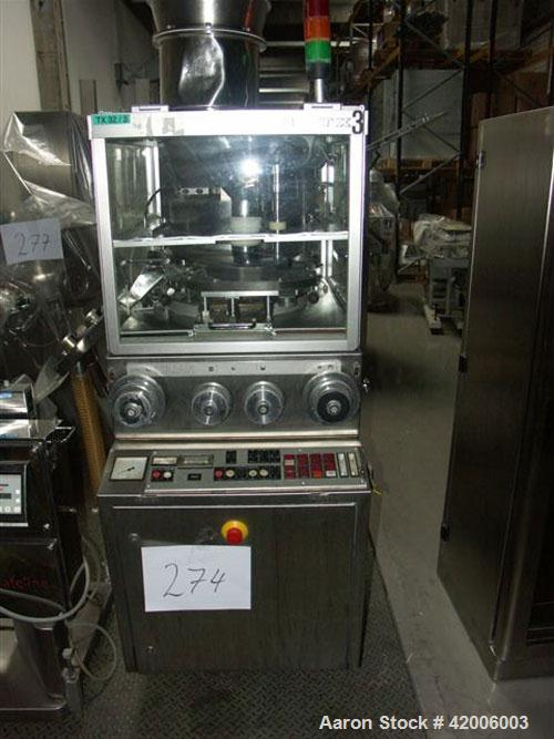 Used-Killion TX 32 Tablet Press. Stainless steel, 32 stations, compression force 9 tons (80 kN), prepress 1.6 tons (14 kN), ...