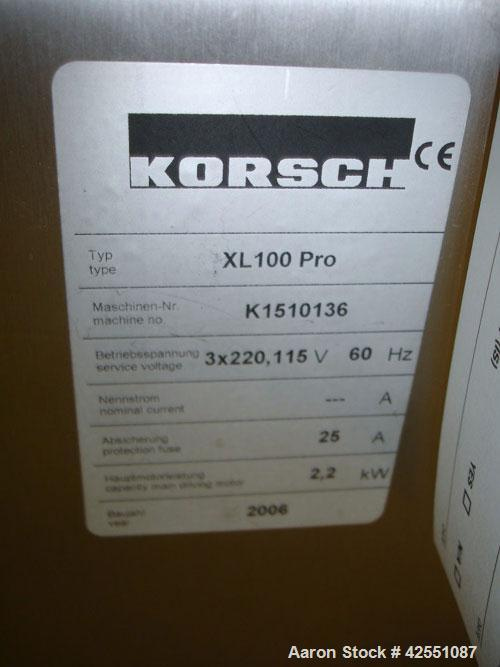 Used- Korsch Rotary Tablet Press, Model XL 100 PRO. 10 Station removable turret, keyed upper punch guides, b tooled, 60 Kn c...