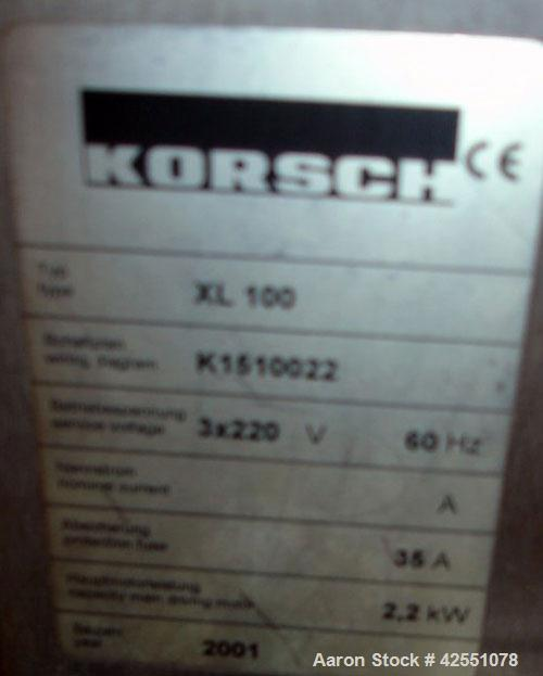 Used- Korsch Rotary Tablet Press, Model XL100. 10 Station removable turret, B tooled, keyed upper punch guides, 60KN compres...