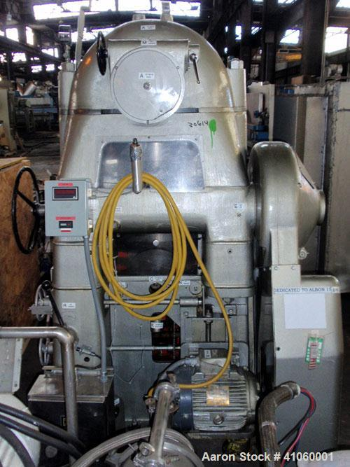 Used- Manesty Rotary Tablet Press, Model RS3. 14 station, 15 ton compression force with pre-compression adjustable to 5 tons...
