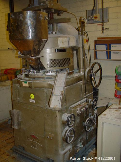 Used-Manesty Rotary Tablet Press, Model RS3. 14 station, 20 ton total compression pressure. Includes tooling, punch holders,...