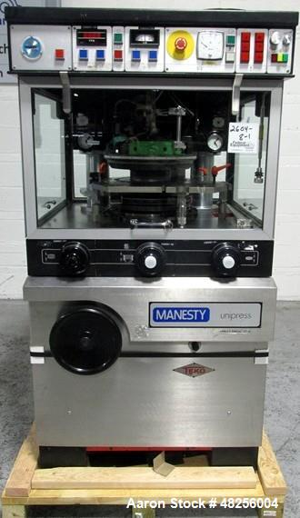 Used- BWI Manesty Rotary Tablet Press, Model Unipress. 27 Station, keyed upper punch guides, 6.5 ton main compression, 1 ton...