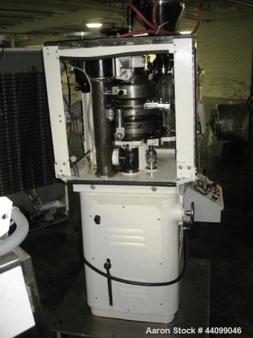 Used- Manesty Beta Press Rotary Tablet Press, 16 station, keyed upper punch guide, single sided, provision for force feed wi...