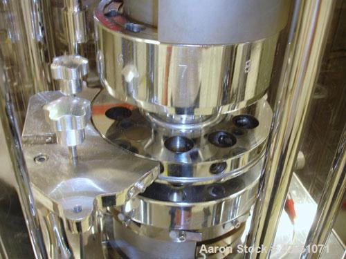 Used- Riva Rotary Tablet Press, Model Piccola B-C, 10 Station, 50 Kn Compression Pressure. Keyed upper punch guides, 16 mm m...
