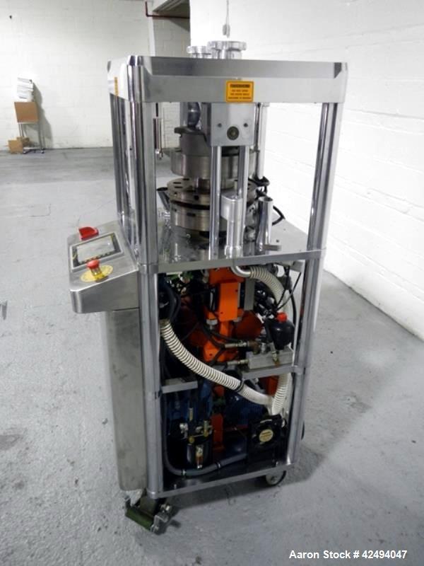 Used- Riva Piccola Bi Layer rotary tablet press, model PI-BB-11, 11 station, 60 Kn main compression, 5 Kn precomprssion, key...