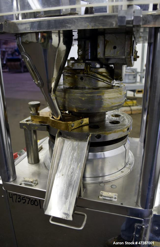 Used- Cadmach 8 Station Rotary Tablet Press, Model SPE/TC08D, Approximate 6 Tons. 316 Stainless steel contact parts, set up ...