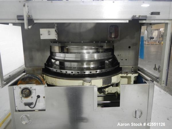 Used- Stokes rotary tablet press, model 754, 45 station, 10 ton compression pressure, dual sided, keyed upper punch guides, ...