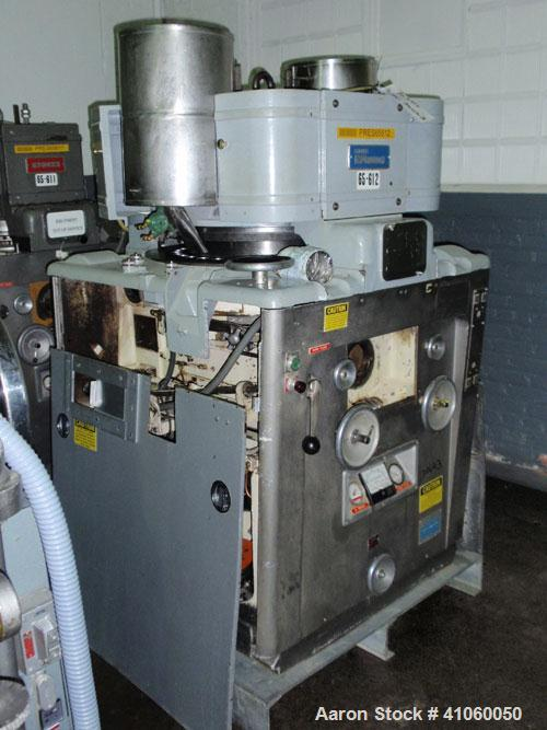 Used- Stokes Rotary Tablet Press, Model 900-328-01. 33 station, keyed upper punch guides, hoppers missing parts, as is, seri...