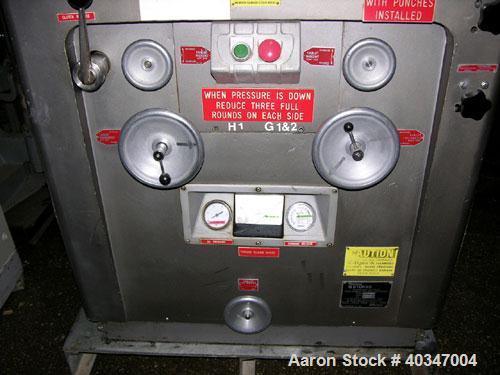 "Used- Stokes rotary tablet press, model 900-328-2. 33 station, 10 ton compression force, 1 3/16"" max tablet diameter, 1 3/8""..."