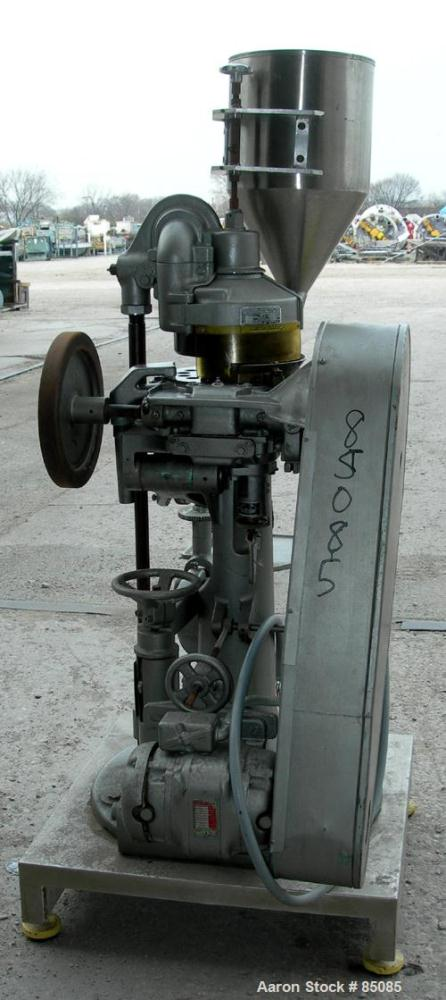 "USED: F J Stokes rotary tablet press, model B2, 4 ton max pressure above and below. 16 station max, keyed head. 11/16"" max d..."