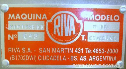 Used- Riva MiniPress Single Station Tablet Press, Model MII. 60Kn (6 Ton) Compression pressure, 24mm max tablet diameter, 18...