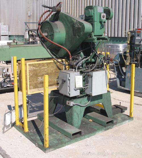 "USED:Perkins O.B.I. single crank flywheel punch press, 28 ton.Approx bed area 22"" wide x 12"" deep, 2"" stroke. Driven by an a..."