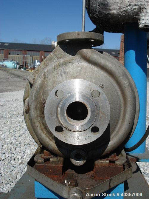 "Used- Goulds Centrifugal Pump, Model 3196, Hastelloy N. 1"" x 1.5"" x 8' impeller, rated 50 gallons per minute  at 275 psi at ..."