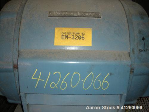 Used-Pump with electric motor. Westinghouse 400 hp motor, 885 rpm, 440V, 3 Ph, 60 Hz.