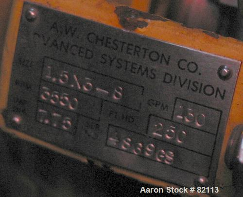 """Used- A.W. Chesterton Centrifugal Pump, Size 1.5X3-8, Carbon Steel. 3"""" Inlet, 1-1/2"""" outlet, 7.75"""" diameter impeller. Rated ..."""