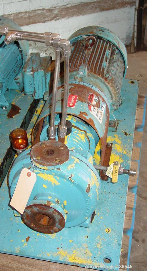 "Used- A.W. Chesterton Centrifugal Pump, Size 1 x 1.5 x 8, Carbon Steel. 1.5"" Inlet, 1"" outlet, 7.75"" diameter impeller. Rate..."