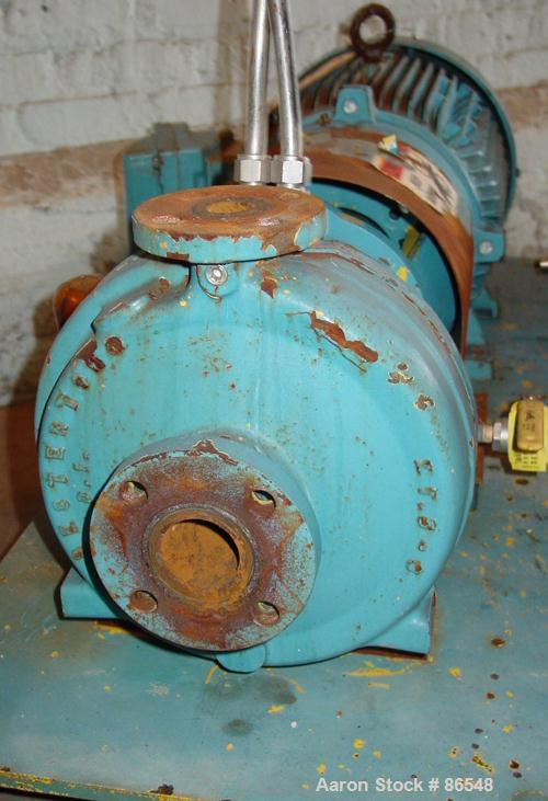 """Used- A.W. Chesterton Centrifugal Pump, Size 1X1.5X8, Carbon Steel. 1-1/2"""" Inlet, 1"""" outlet, 7.75"""" diameter impeller. Approx..."""