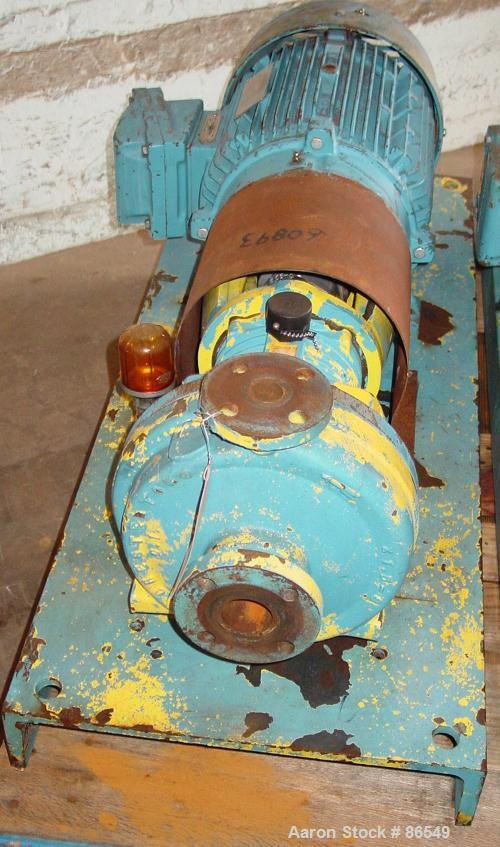 "Used- A.W. Chesterton Centrifugal Pump, Size 1X1.5X8, Carbon Steel. 1-1/2"" Inlet, 1"" outlet, 7.75"" diameter impeller. Approx..."