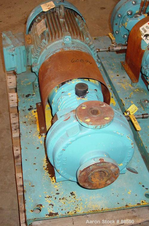 """USED: A W Chesterton Co centrifugal pump, size 1X1.5X8, carbon steel. 1-1/2"""" inlet, 1"""" outlet, 7.75"""" diameter impeller. Appr..."""