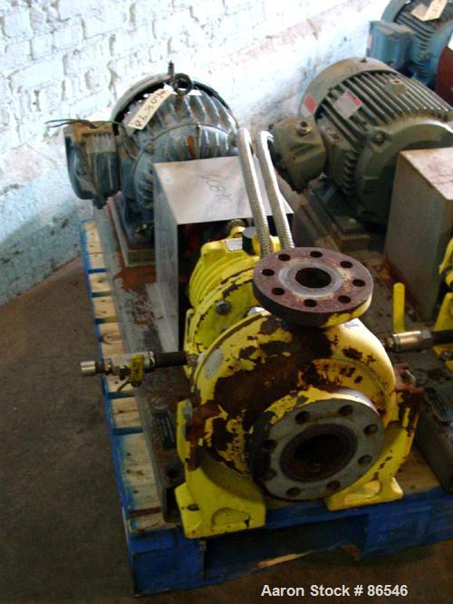 "Used- A.W. Chesterton Centrifugal Pump, Size 2X3X8, Carbon Steel. 3"" Inlet, 2"" outlet, 7.75"" diameter impeller. Driven by a ..."