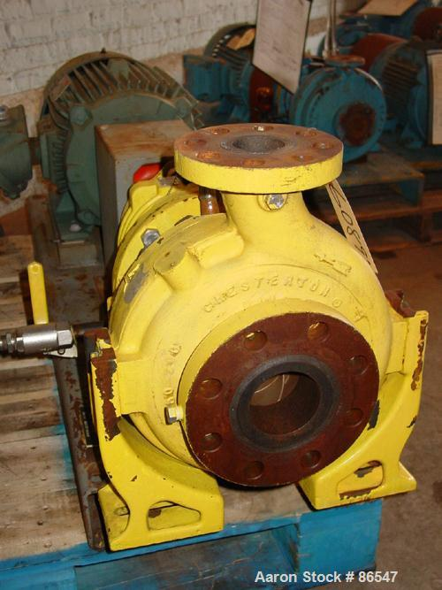 "Used- A.W. Chesterton Centrifugal Pump, Size 2X3X8, Carbon Steel. 3"" Inlet, 2"" outlet, 7.75"" diameter impeller. Approximatel..."