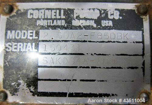 Used- Cornell Dissolved Air Floatation DAF Centrifugal Pump, Model 2.5DA2-F85DBK, Carbon Steel. Approximate capacity 150-225...